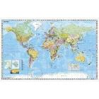 Stiefel Wandkarte Kleinformat Weltkarte politisch, deutschsprachig, ohne Metallstäbe.