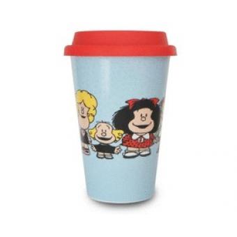Taza Mafalda de viaje grupal con tapa de silicona